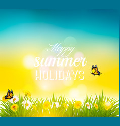 Happy summer holidays background with flowers vector