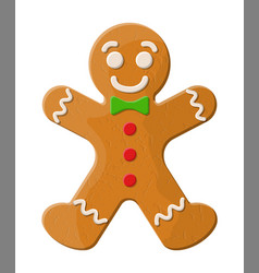 Holiday gingerbread man cookie vector