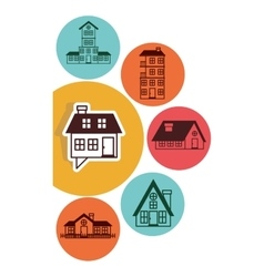 houses logo design in colorful bubbles vector image
