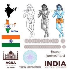 india flag Krishna taj mahal map mandala vector image