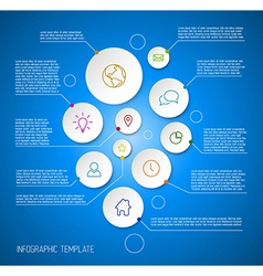 Infographic blue report poster with circles vector image