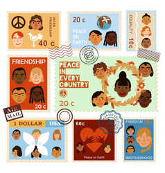international human faces postage stamps vector image