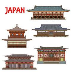 japanese temples japan buildings pagoda houses vector image