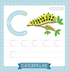 Letter c uppercase tracing practice worksheet vector