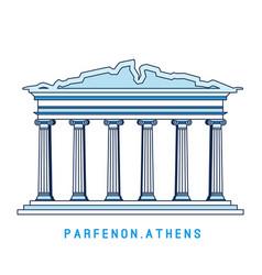 Line art parthenon athens greece european vector