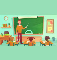 male teacher teaches students in elementary school vector image