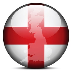 Map on flag button of England vector