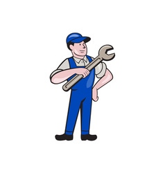Mechanic Pointing Spanner Wrench Isolated Cartoon vector image