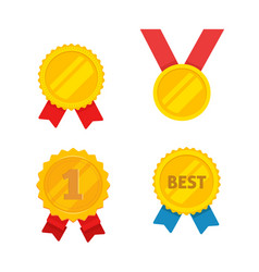 medal gold set flat cartoon golden vector image