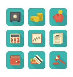 Modern Flat Financial Icons vector image