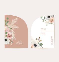 modern minimal floral wedding invitation vector image