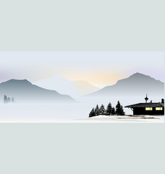 mountain view with lonely house bavarian-style vector image