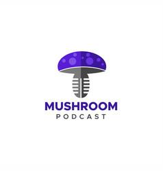 mushroom podcast logo vector image