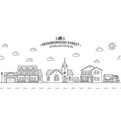 Neighborhood with home store and church vector