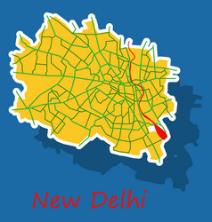 new delhi map sticker style design vector image