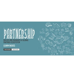 Partnership concept with doodle design style vector
