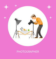 photographer making shot of still life composition vector image