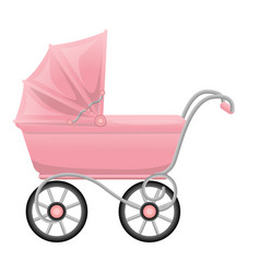 Pink pram icon cartoon style vector
