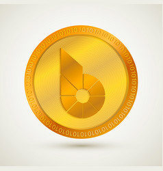 Realistic gold bitshares icon cryptocurrency vector