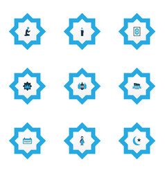 religion icons colored set with masjid arabian vector image