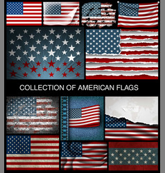 set american flags developing and vintage vector image