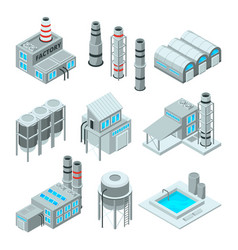 set industrial or factory buildings isometric vector image