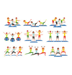 set of people working out in gym young girls and vector image