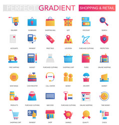 set of trendy flat gradient shopping retail vector image