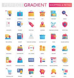 set trendy flat gradient shopping retail vector image