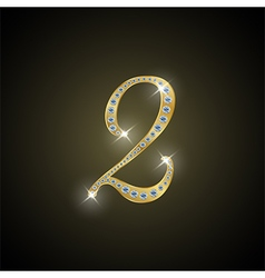 Shiny number two of gold and diamond vector image