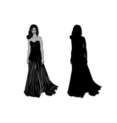 Silhouette of a girl in long dress vector