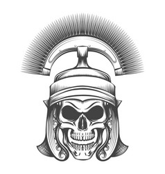 Skull in rome empire centurion helmet vector