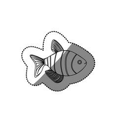 sticker silhouette clownfish aquatic animal icon vector image