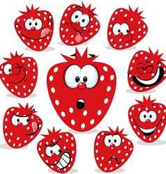 strawberry icon cartoon with funny faces isolated vector image