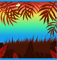 sunset colored background with bushes palm leaves vector image