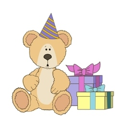 Teddy Bear is sitting with gift boxes vector image