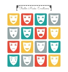 Theatrical masks emoticons Characters with vector