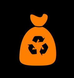 Trash bag icon orange icon on black background vector