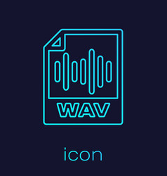 Turquoise wav file document icon download wav vector