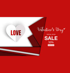 valentines day sale special with paper cut style vector image