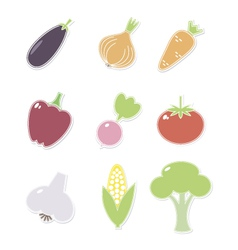 Vegetables iconsset vector image