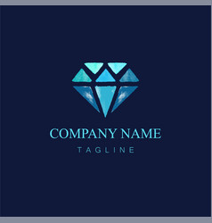 watercolor diamond logo design4 vector image