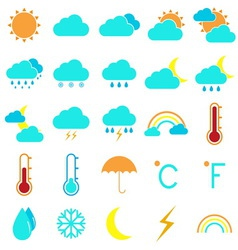 Weather and climate color icons on white vector
