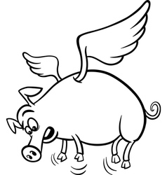 When pigs fly coloring page vector