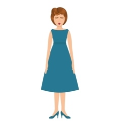 woman with blue dress and collected hair vector image