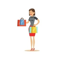 Woman With Clothing Outlet Bags Shopping In vector