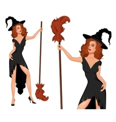 Young witch in a hat with broom Halloween vector image