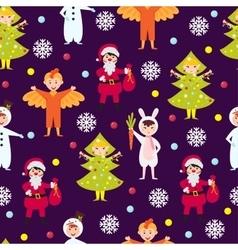 Christmas kids seamless pattern vector image