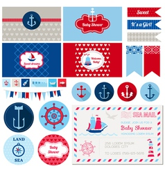 Design elements - baby shower nautical theme vector