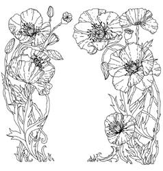 Field poppies spring pattern vector